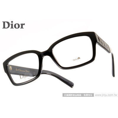 DIOR光學眼鏡CD3261 D28黑簡約典雅雕刻典藏款平光鏡框金橘眼鏡