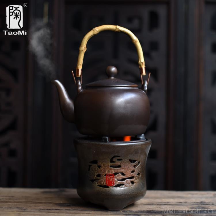 超豐國際陶瓷粗陶煮茶壺耐熱提梁壺酒精爐子溫水爐泡茶壺蠟燭1入