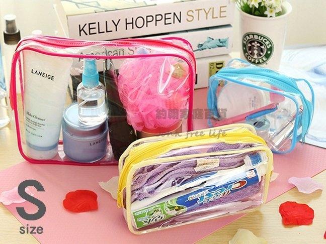 約翰家庭百貨YX062 PVC透明旅行防水盥洗包洗漱包化妝包浴室收納包旅行手袋小號隨機出貨