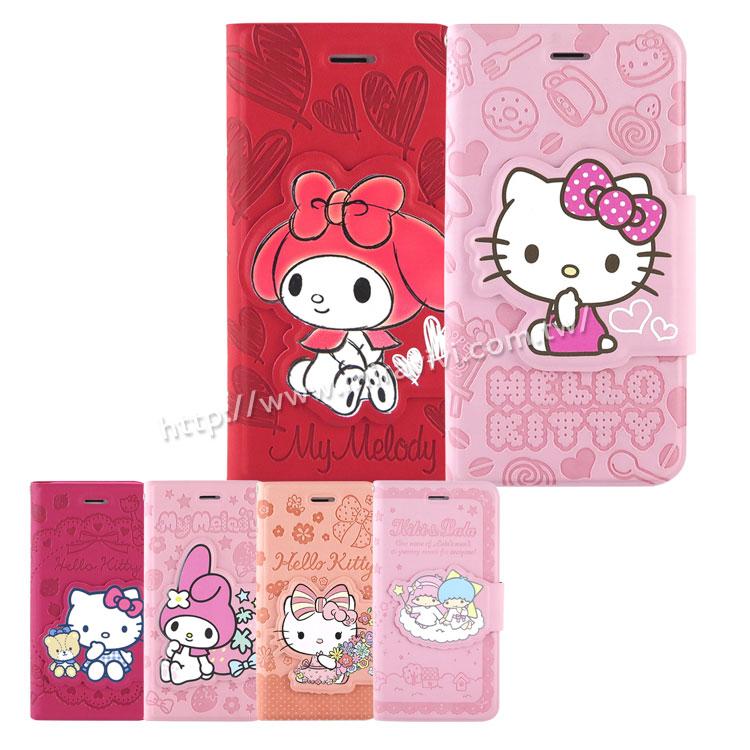 Sanrio iPhone 6 Plus 6s Plus彩繪皮革筆記本式皮套-KITTY MELODY KIKILALA