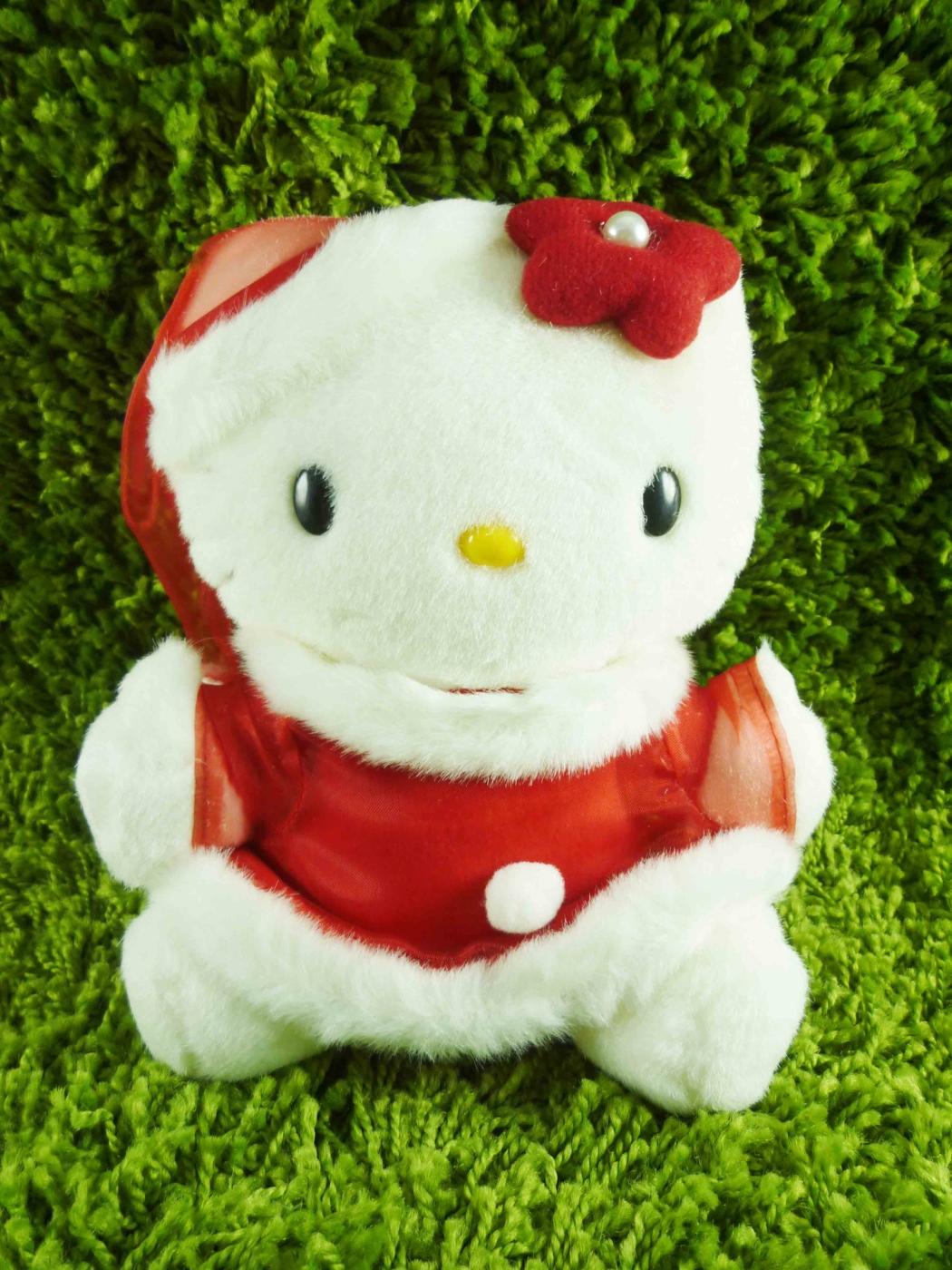 震撼精品百貨Hello Kitty凱蒂貓~KITTY絨毛娃娃-聖誕老人圖案-紅紗SS