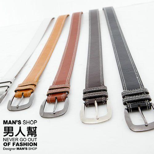 【男人幫】X0145*首爾新鮮貨【英倫風壓線設計蹄型扣環皮帶】附禮盒,可送人
