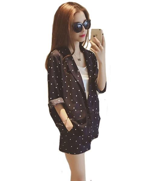 套裝  韓版時尚棉麻圓點休閒外套+高腰口袋短褲 (藏藍)