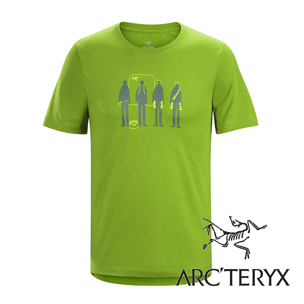 Arc'teryx加拿大始祖鳥男LOGO短袖T恤短吻鱷綠L06823吸濕排汗透氣T-shirt短袖運動衫排汗衫