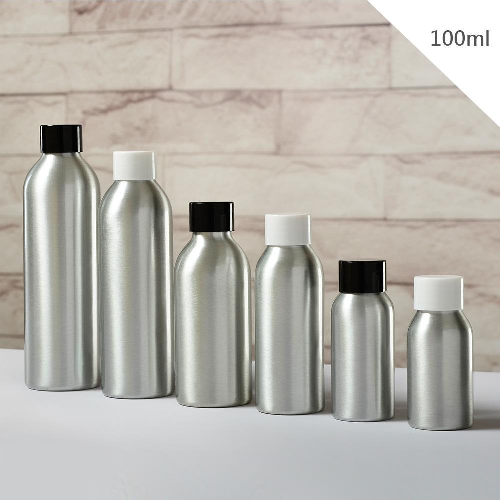 『藝瓶』瓶瓶罐罐 空瓶 空罐 化妝保養品分類瓶 填充容器 黑白旋轉蓋鋁製分裝瓶子-100ml
