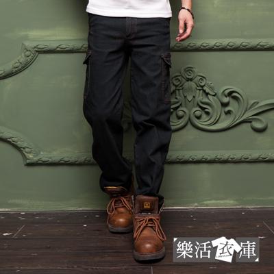 9046美式伸縮多口袋直筒牛仔工作褲黑色樂活衣庫