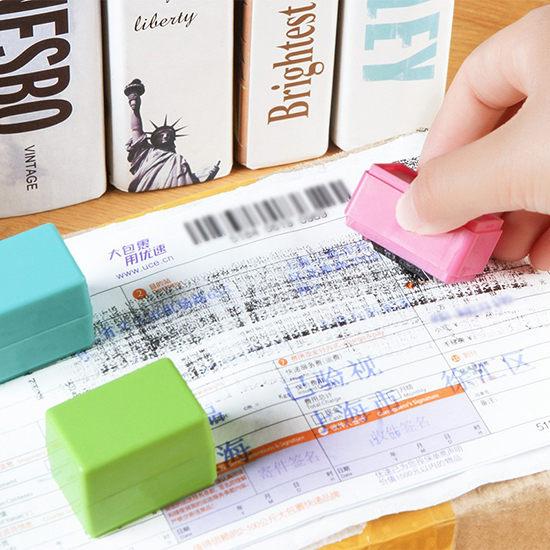 生活家精品N300保密亂碼滾輪式印章快遞單隱私塗抹蓋字手帳保護安全章秘密墨水