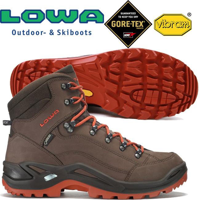Lowa 310945-4274咖棕紅男Gore-Tex中筒多功能健行鞋Renegade Mid GTX黃金大底登山鞋郊山鞋