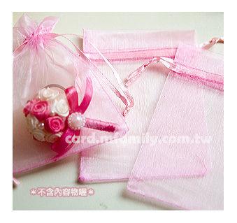 幸福朵朵素面紗袋9x12cm皆粉紅色X 50個喜糖手工皂包裝袋紗網袋束口袋包裝材料資材