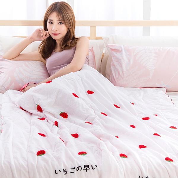 涼被 韓版立體毛巾繡 舒柔棉四季被 空調被【草莓白】(150X200cm) 雙人可用