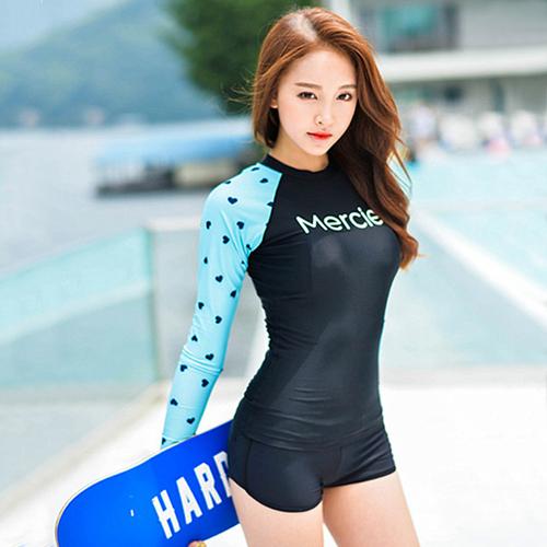 二三件式泳裝點點字母運動防曬兩件套長袖泳裝SF8027 icoca 04 14