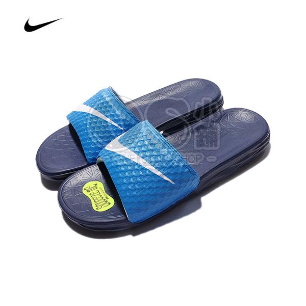 特價NIKE拖鞋藍色705474-402白勾BENASSI SOLARSOFT情侶鞋運動休閒男女鞋