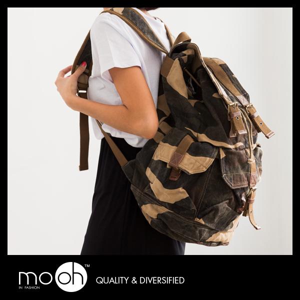 歐美個性迷彩後背包旅行包大容量防潑水迷彩帆布包mo.oh包包配件