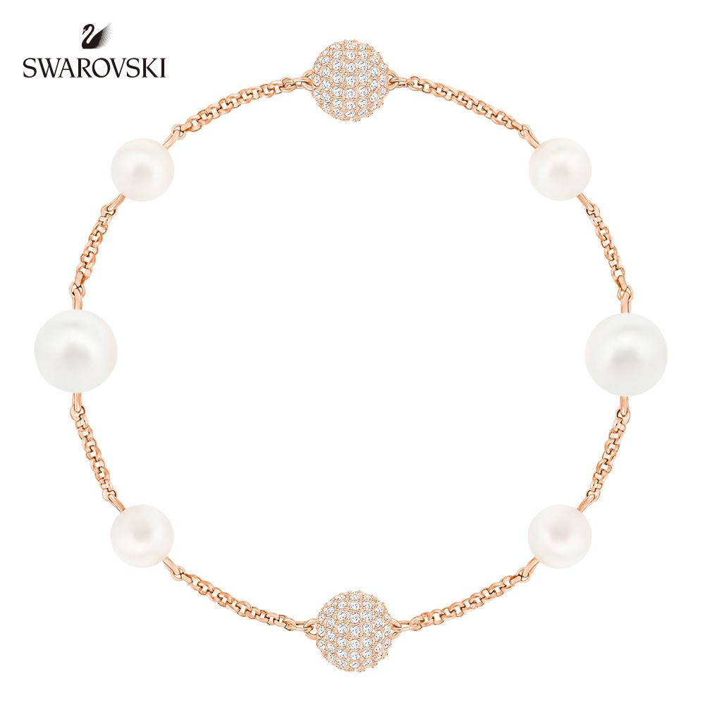 施華洛世奇 精緻優雅鍍玫瑰金色 Remix Collection Mixed White Crystal Pearl 手鍊
