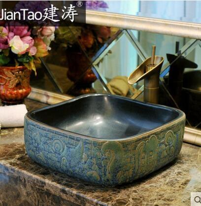設計師美術精品館建濤衛浴正方形古典藝術台盆台上盆洗手盆-洗臉盆-面盆-仿古青銅