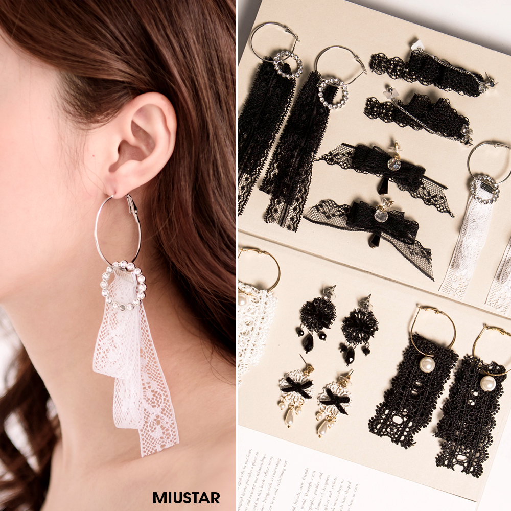 現貨MIUSTAR復古黑白蕾絲珍珠亮鑽造型耳環共8色NE2563T1