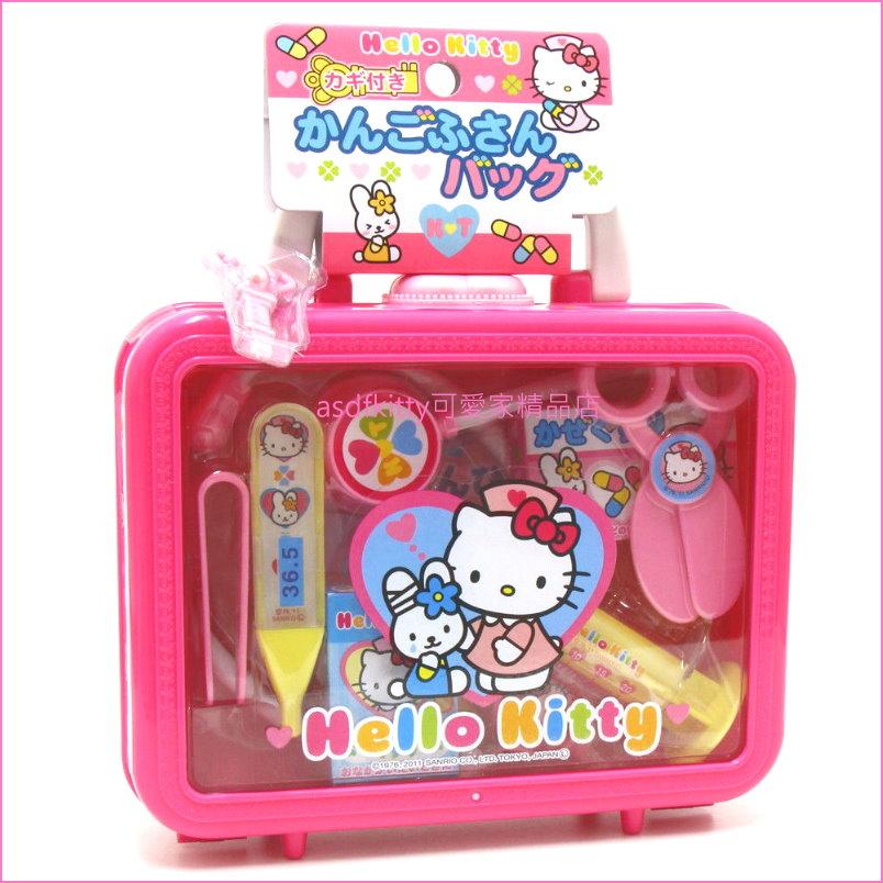 asdfkitty可愛家KITTY小護士醫生兒童玩具組附手提收納盒-扮家家酒-日本正版