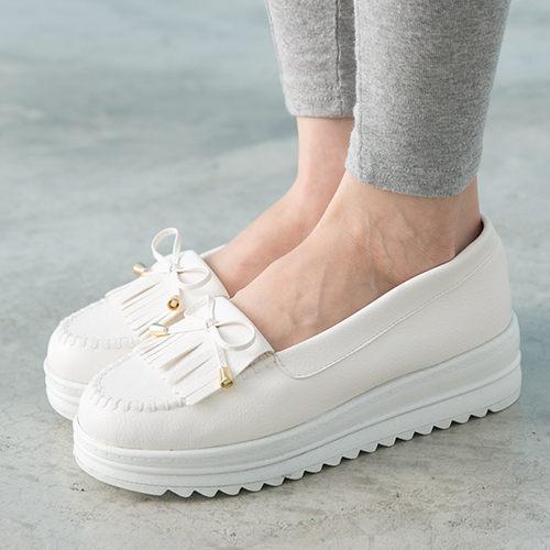 女款韓系流蘇厚底莫卡辛厚底鞋鬆糕鞋MIT製造白色59鞋廊