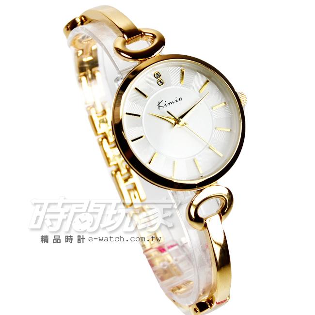 Kimio金米歐簡約氣質手鍊型腕錶防水手錶手鍊錶細手環金電鍍女錶K6108金
