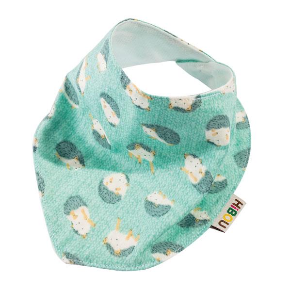 日本HIBOU雙重紗領巾口水巾圍兜三角巾晴空藍小刺蝟