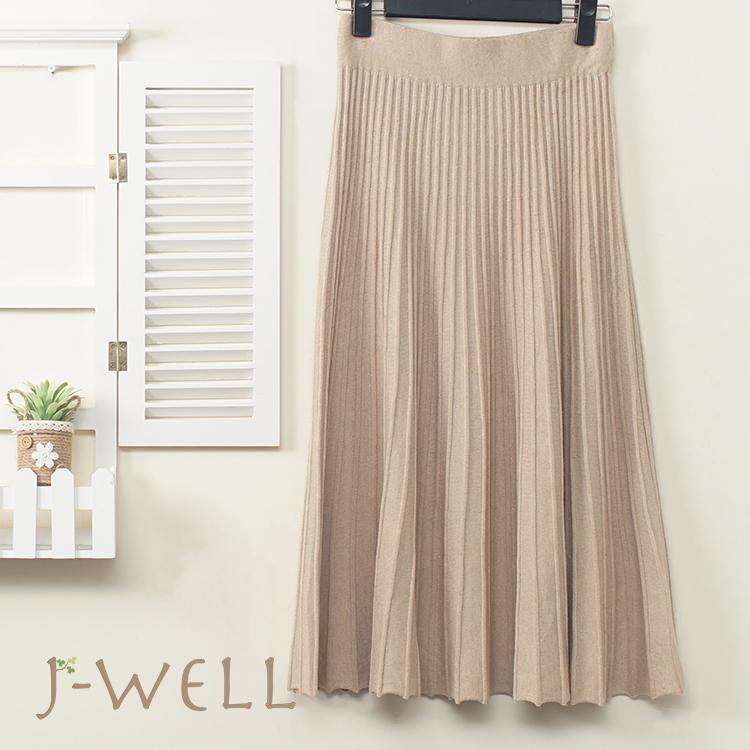 J-WELL 修身顯瘦針織壓摺A字裙 (3色) 9J1141