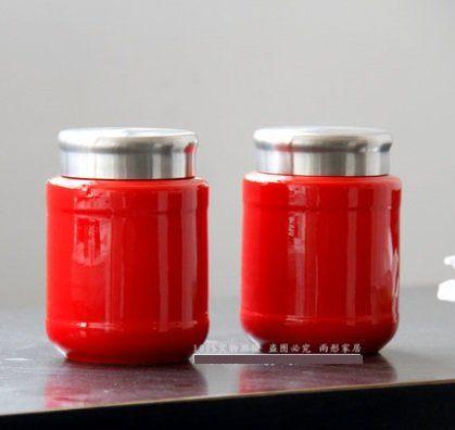 吉慶紅色景德鎮陶瓷器茶葉罐