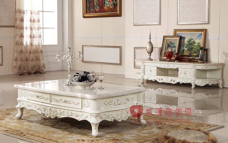 紅蘋果傢俱J221奢華歐式法式大理石茶几象牙白描銀金手工雕花