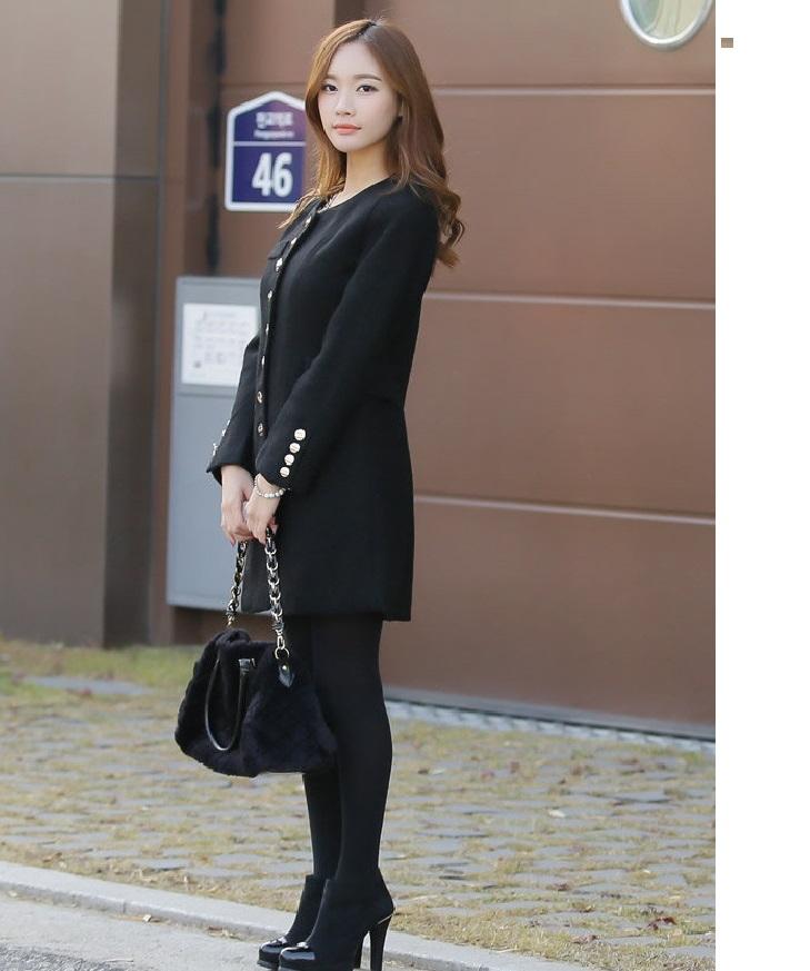 美之札9580-JK韓流圓領精緻袖口排釦腰身微傘狀顯瘦大衣