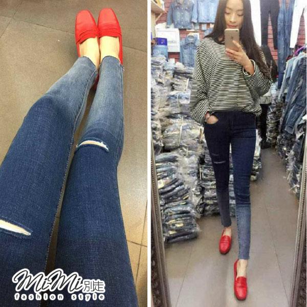MIMI別走孕婦裝P61216氣質刷色百搭孕婦牛仔褲孕婦褲托腹褲顯瘦小腳褲