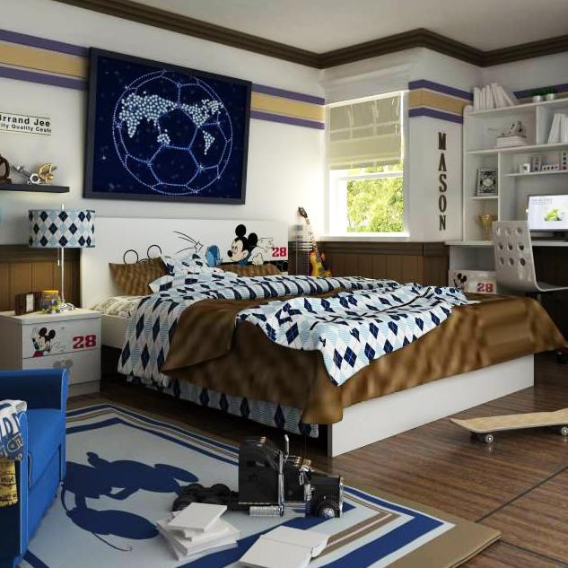 首雅傢俬雙人床架米奇世界盃5尺雙人床床架兒童床兒童家具卡通床雙人