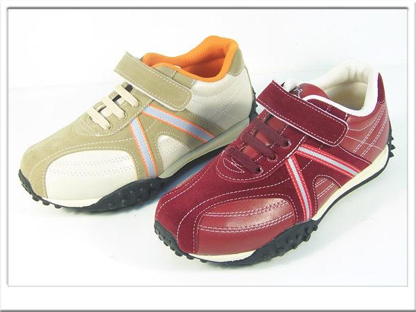 『雙惠鞋櫃』★經典款 魔鬼氈免綁鞋帶款 女休閒運動鞋★ (8201) 酒紅、米柑