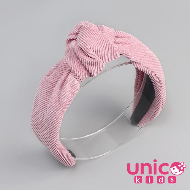 UNICO 兒童 韓國親子系列燈芯絨髮箍/髮飾-粉色