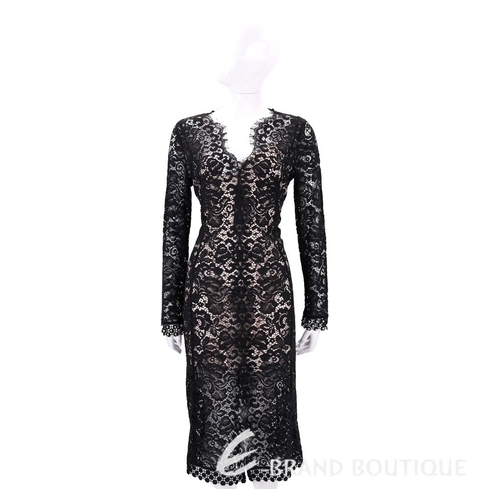 PINKO 黑色蕾絲長袖洋裝(附內襯) 1710022-01