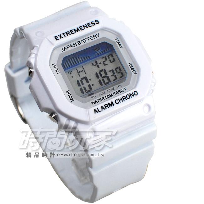SKMEI彩色繽紛休閒多功能夜間冷光照明運動錶電子錶女錶學生錶EX6918白
