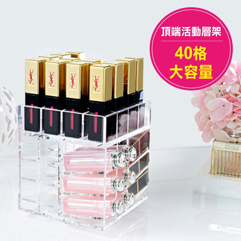 Mundo 360度旋轉水晶口紅收納架化妝品唇膏收納盒口紅架40格