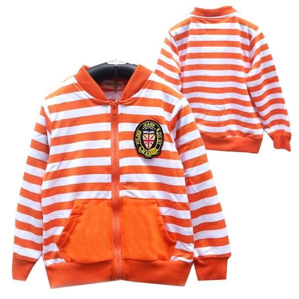 韓版童裝彈力條紋學院風毛圈小外套-橘BB150731011