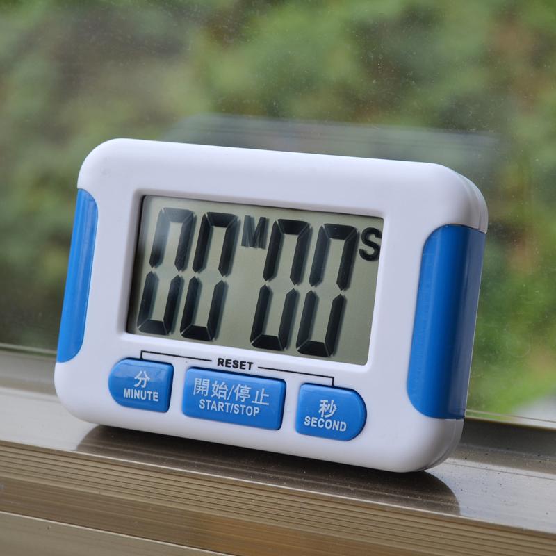 附電池藍色電子計時器大屏幕中文按鍵廚房定時器正負倒計時時鐘功能倒計時可站立吊掛磁鐵