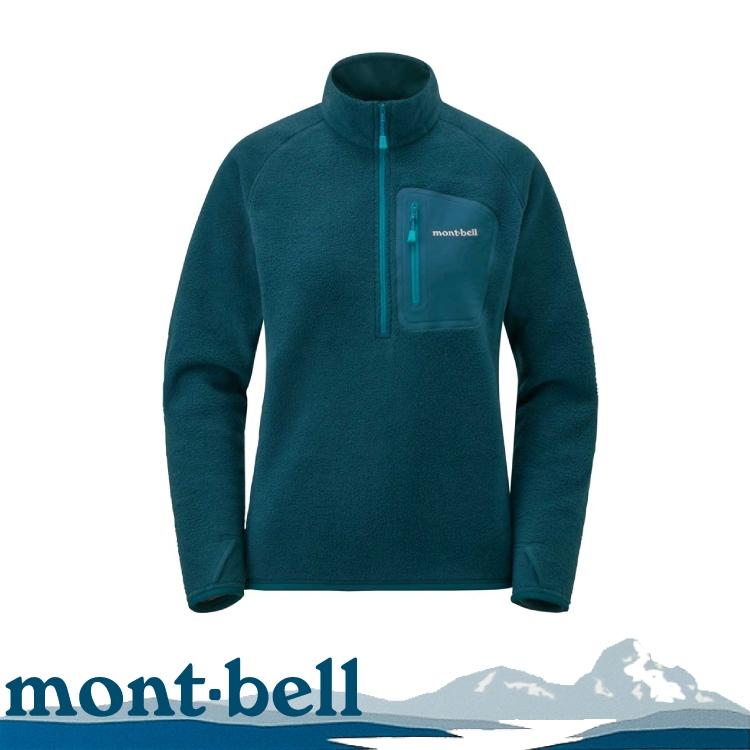 【Mont-Bell 日本 女 CP100 PULLOVER 刷毛上衣《藍黑》】1106594/保暖上衣/防寒/快乾