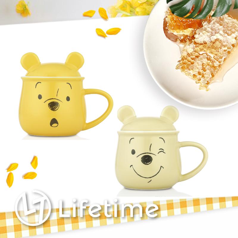 ﹝微笑維尼陶瓷馬克杯450ml﹞正版咖啡杯 杯子 水杯 造型杯蓋 小熊維尼〖LifeTime一生流行館〗