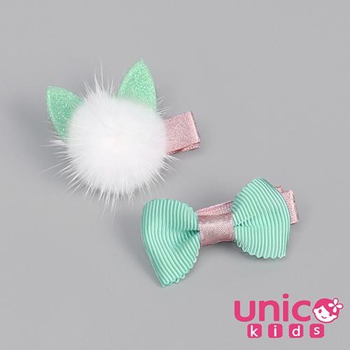 UNICO 兒童粉綠俏皮蝴蝶結球球元素全包布髮夾/髮飾-2入組