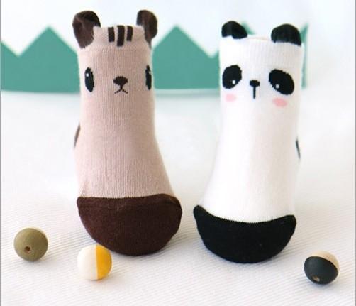 秋冬新款超可愛立體耳朵動物防滑童襪四入禮盒組OS小舖