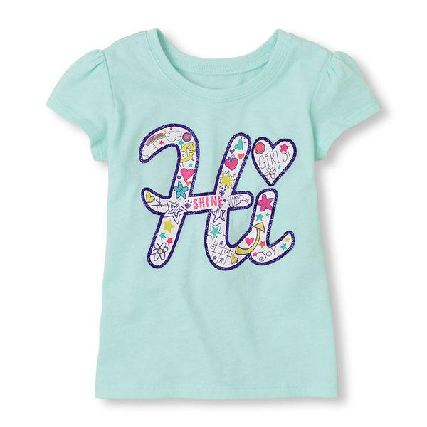 Place短袖上衣 Hi字母圖案綠色短袖T恤 5T (Final sale)