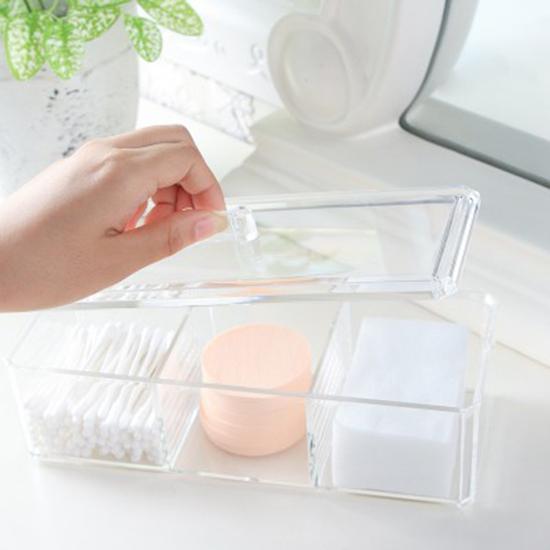 米菈生活館P276無印風格系列-透明化妝品收納盒壓克力桌面收納整理盒首飾棉花棒