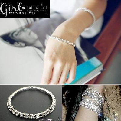【Q50A32】魔衣子-閃閃銀色單排水鑽彈力手環