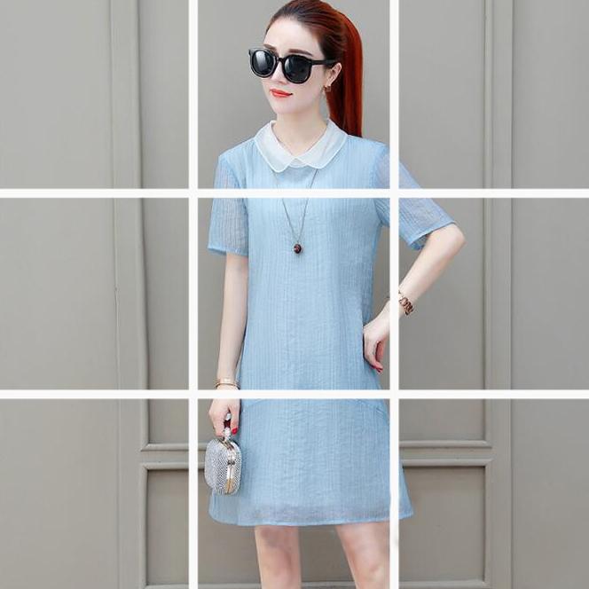 寬鬆白領壓褶紋短洋裝 (黑  姜黃  水藍)11950077