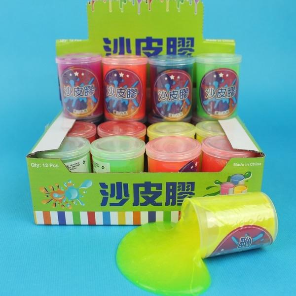 中型 沙皮膠 彩色水黏土 史萊姆 鼻涕膠/一個入{促25}~果凍膠 不黏手整人玩具BB5388V