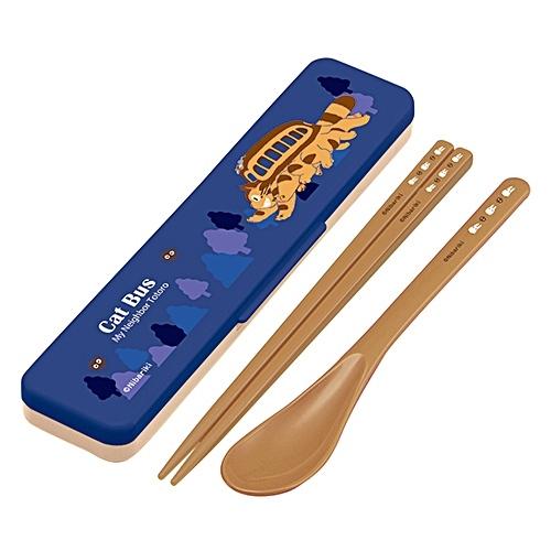 TOTORO 龍貓 貓公車 環保餐具組 湯匙 筷子 餐具盒 326912 日本製 奶爸商城