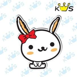 【收藏天地】防水防曬*安全帽 汽機車 萬用貼-蝴蝶結兔兔(小)