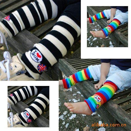 夏日 條紋兒童純棉薄中統襪套 中筒襪 袖套 日月星媽咪寶貝館