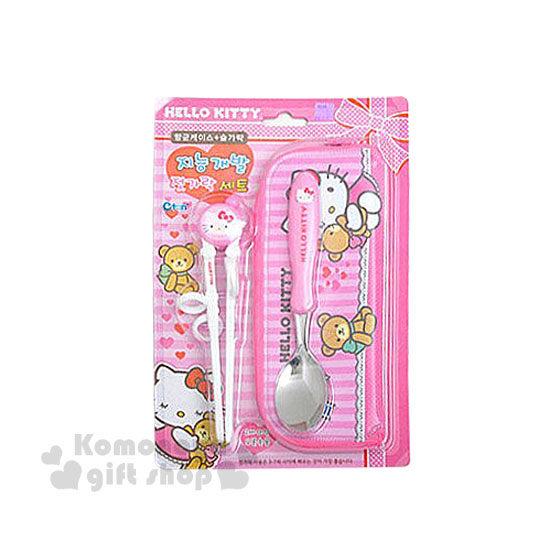 小禮堂韓國館Hello Kitty兒童學習筷匙組粉.小熊軟式套環設計8809169-42036